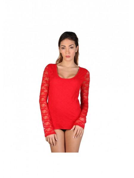 Tener cuidado de Reino Unido tiendas populares Comprar camiseta roja de manga larga con encaje online barata para mujer.