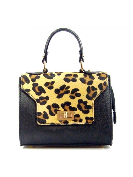 08b066ad0 Comprar el bolso de mano City de cuero negro y estampado de leopardo ...