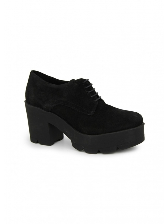Zapato Abotinado En Serraje Negro