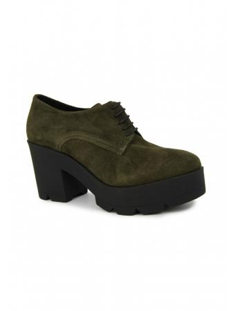 Zapato Abotinado En Serraje Verde