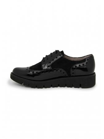 Zapato plano En Charol y serraje Negro