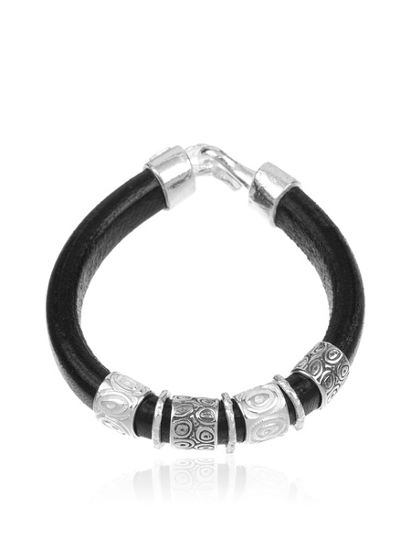 código promocional 95879 e3be0 Comprar pulsera de plata y cuero grueso. Los precios más bajo.